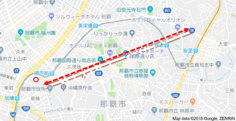 国際通りとホステルの距離