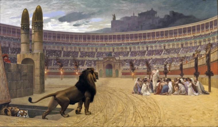 猛獣に狙われるキリスト教徒